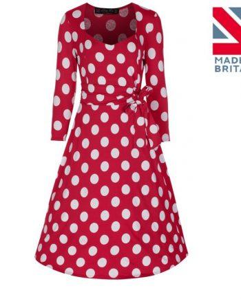 "Lindy Bop ""Rachel"" polka dot jurk rood"