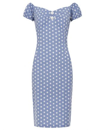 Collectif Dolores Dress blue met witte polka dots