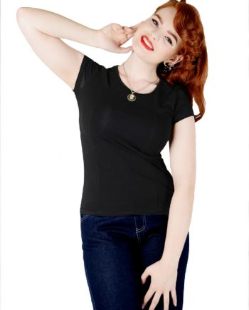 Alice Plain T-Shirt Black FrontW