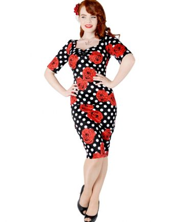 Dolore Polka Dot Rose Half Sleeve Dress FrontW