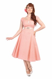 Dolores Vintage Polka Dot Doll Dress Pink