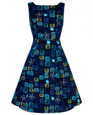 Hepburn_Abstract_Floral_Swing_Dress_BLUE_A