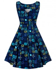 Hepburn_Abstract_Floral_Swing_Dress_BLUE_B