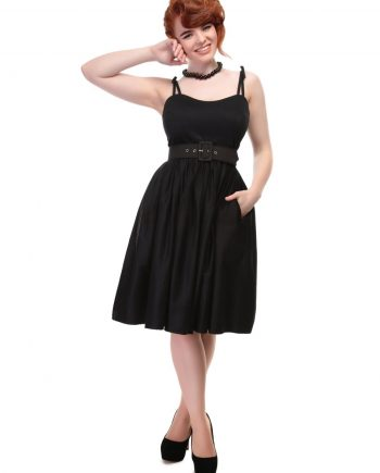jade plain swing dress black