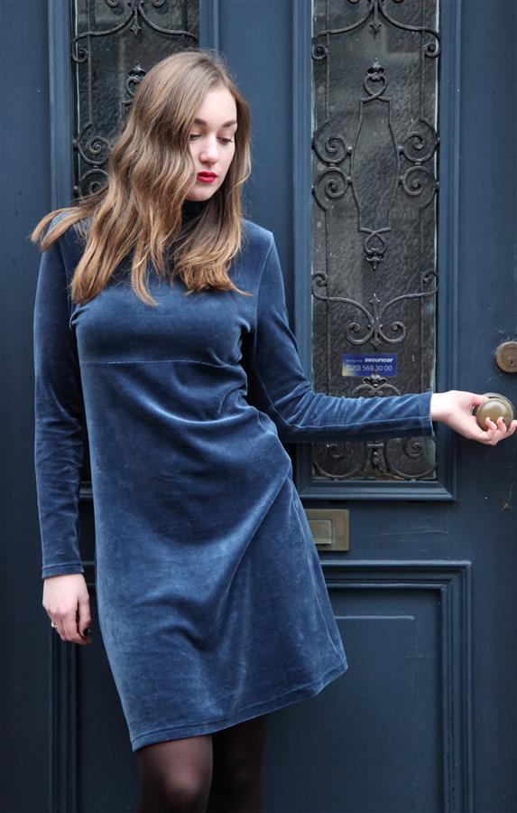 Rode Velours Jurk.Bakery Ladies Dress Peacock Blue Miss Vintage