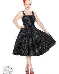 Black White Small Polka Dot Swing Dress With Bolero2