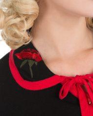 Rose Cardigan In Black Red1