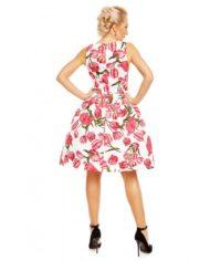 Annie Retro Floral Swing Dress in White Tulip 1