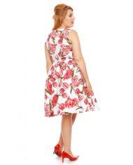 Annie Retro Floral Swing Dress in White Tulip 3