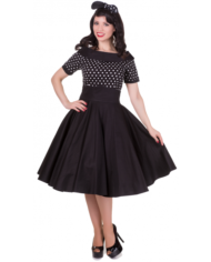 Darlene 50's swing dress black polka 1