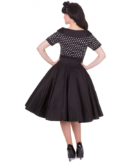 Darlene 50's swing dress black polka 2
