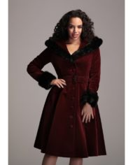 Callie Quilted Velvet Swing Coat in Wine