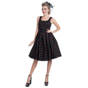 11fd0921cfd035 Dolly and Dotty Amanda Scoop Neck Swing Rockabilly Dress in Black   Red  Polka Dot