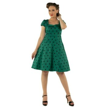 9c10cb27ee838c Dolly and Dotty Claudia 50 s Green   Black Dress Polka Dot Premium Cotton  Fabric