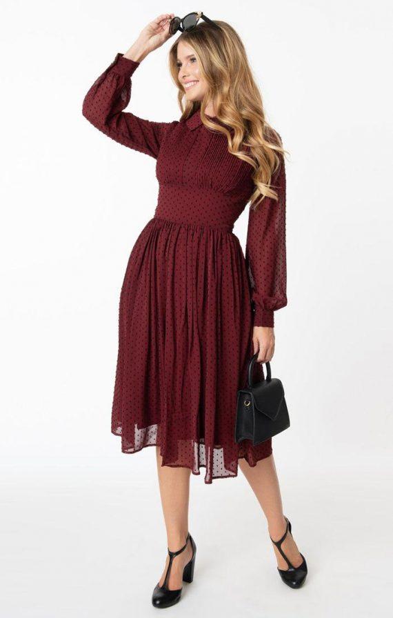 bordeaux met zwarte stip jurk