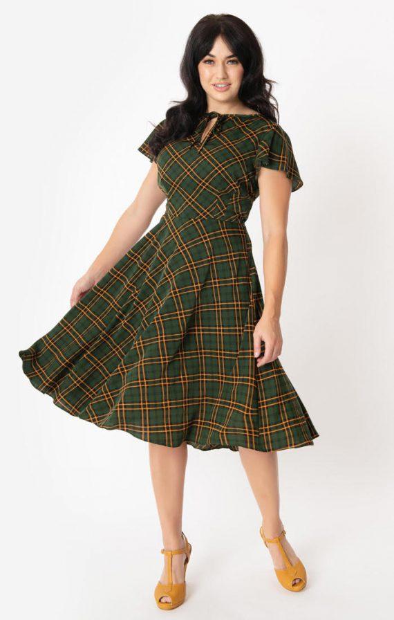 Vivian dress groen met gele ruit